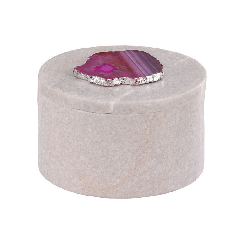 Antilles Round Box In White Marble And Pink Agate. Pink