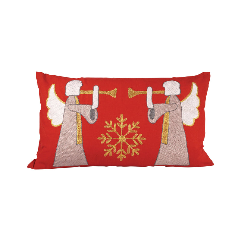 Herald Angels Pillow 20X12-Inch - Ribbon Red,Silver,Gold