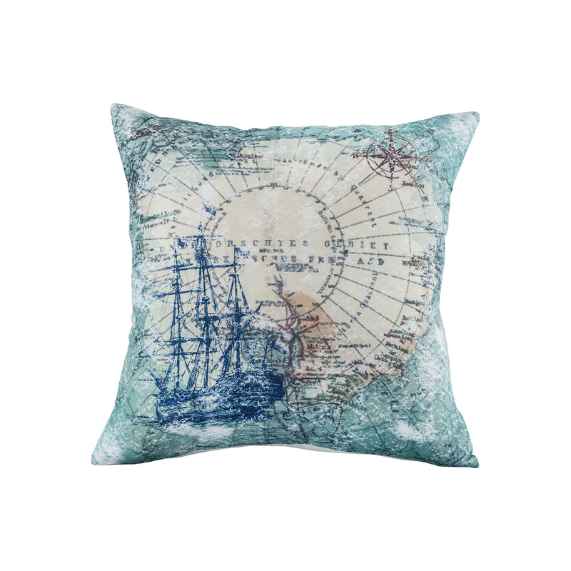 Voyage Pillow 20x20 - Blue, Cream