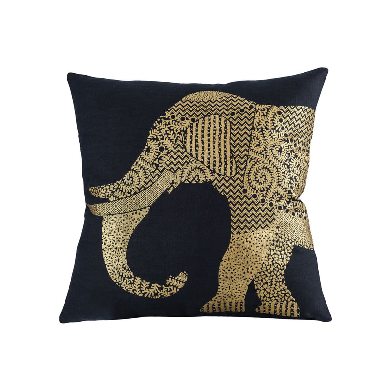 Bali Elephant Pillow 20x20 - Black,Gold