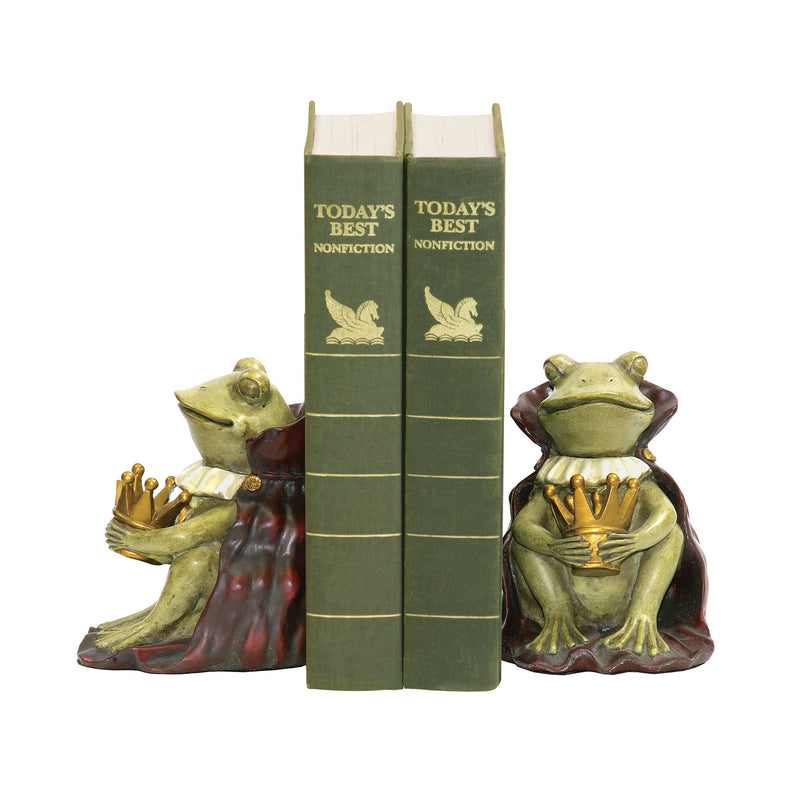 PAIR FROG PRINCE BOOkENDS -