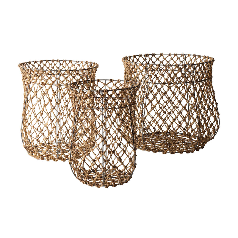 Fisherman's Rope Baskets 3pc Set - Brown