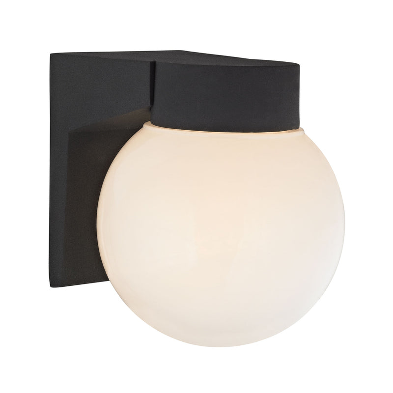 1 Light Outdoor Wall Sconce In Matte Black And White Glass - Matt Black