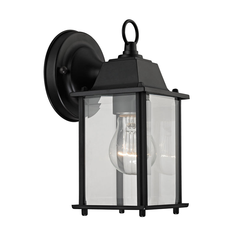 1 Light Outdoor Wall Sconce In Matte Black And Clear Glass - Matte Black
