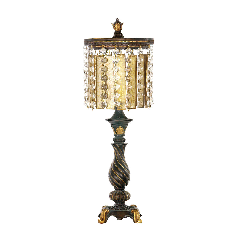 Amber And Crystal 1 Light Table Lamp in Gold Leaf And Black - Black