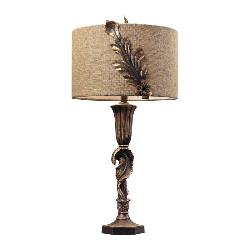 TABLE LAMP WITH METAL FLORAL DÉCOR AND BURLAP SHADE - Nova