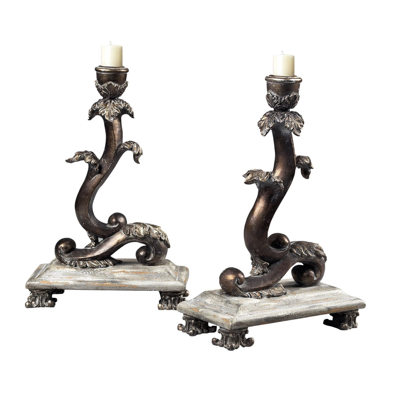SET OF 2 SCROLL CANDLE HOLDERS - BARON