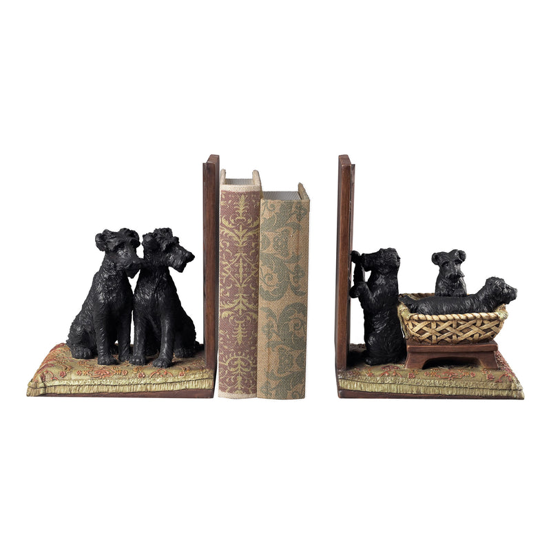 PUPPIES IN A BASkET BOOkENDS - BLACk / NATURAL