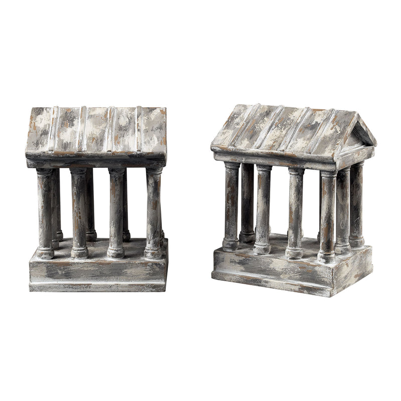AGED COLUM BOOkENDS - RESTORATION GREY