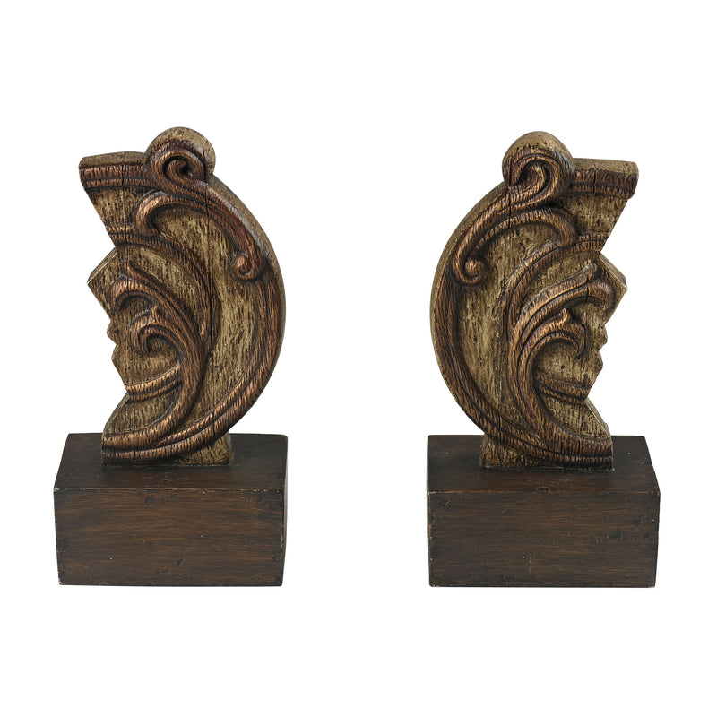 SET OF 2 RECLAIMED ARTIFACT BOOkENDS - RECLAIMED WOOD TONES ON TEXTURED COMPOSITE, GOLD EDGING WITH HEAVY BROWN ANTIQUE