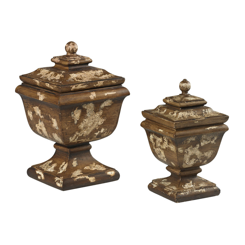 SET OF 2 DISTRESSED ANTIQUE CREAM BOXES - WARM WOOD TONES WITH ANTIQUE CREAM HEAVILY AGED PAINT