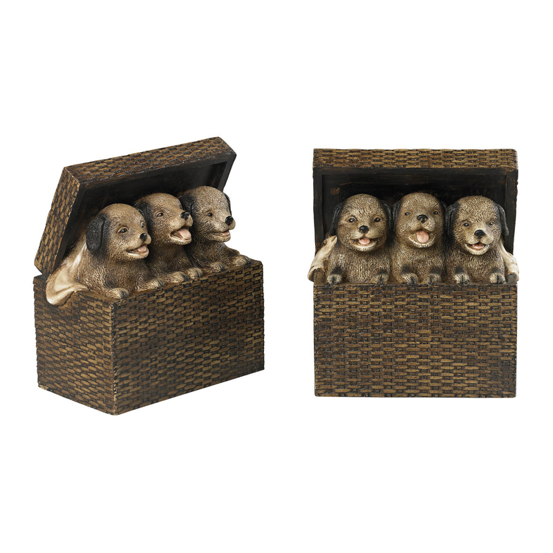 SET OF 2 BOOkENDS - NATURAL RATTAN TONES. PUPPIES ARE CREAM WITH HEAVY BROWN ANTIQUE