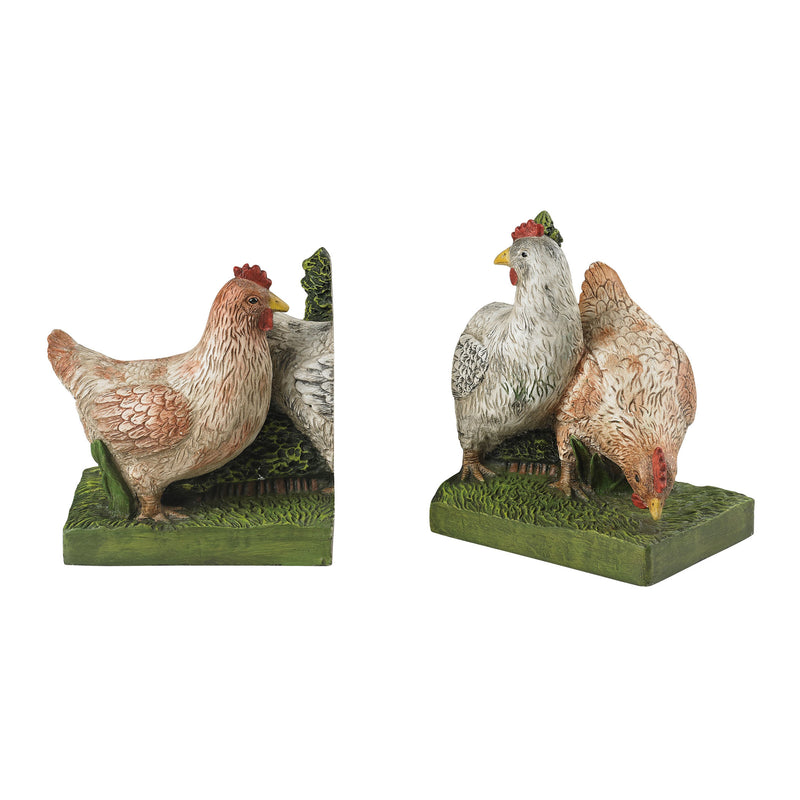 SET OF 2 BOOkENDS - GREEN BASE. HENS ARE OFF WHITE WITH GREY _ ORANGE HIGHLIGHTING
