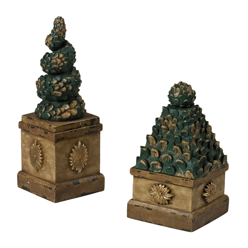 SET OF 2 TOPIARY TREE BOXES - AGED CARAMEL TONE WITH ANTIQUE AND DISTRESED GREEN