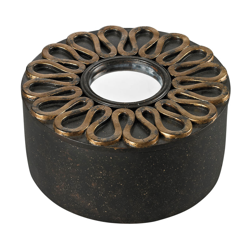 SCROLL WORk BOX WITH MIRRORED TOP - Aria Bronze With Gold