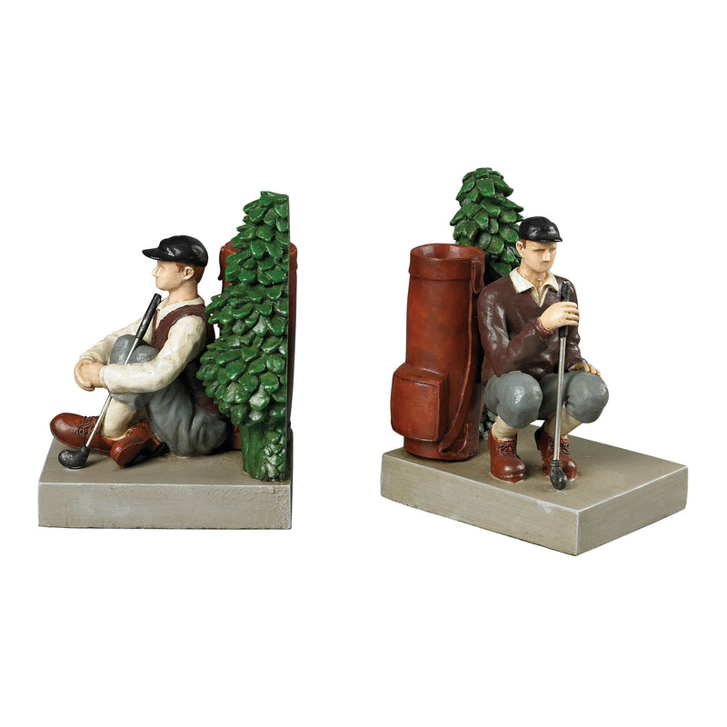 GOLFER BOOkENDS - Penarth Blue