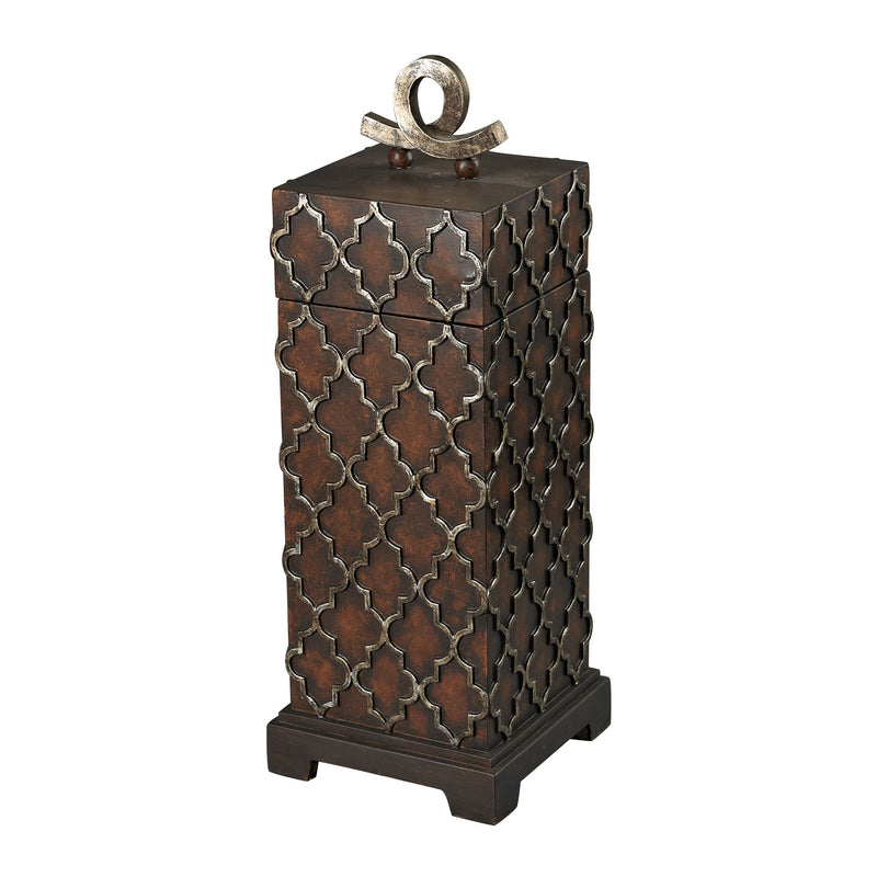 TALL MOORISH CARVED BOX - Whitwel Bronze