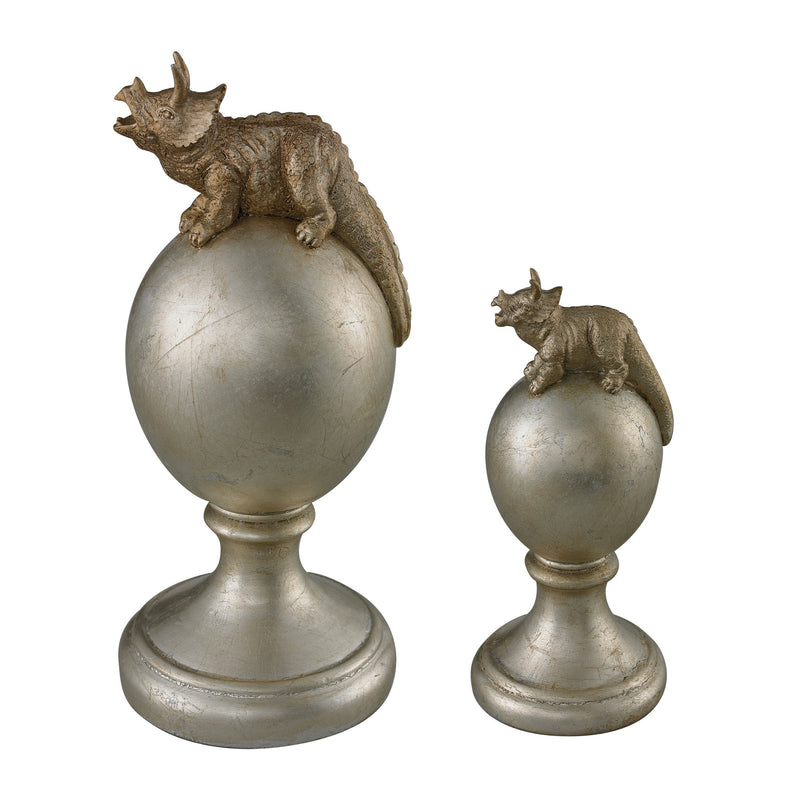 SET OF 2 TRICERATOPS FINIALS - SILVER WITH ANTIQUE