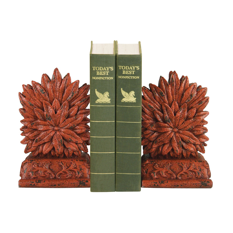 PAIR RED FLORAL BOOkENDS -