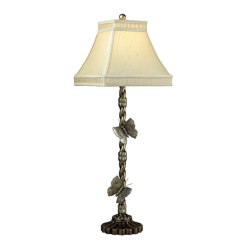 Wolcott Lake Butterfly Buffet Lamp-JS - Antiqued Silver Leaf