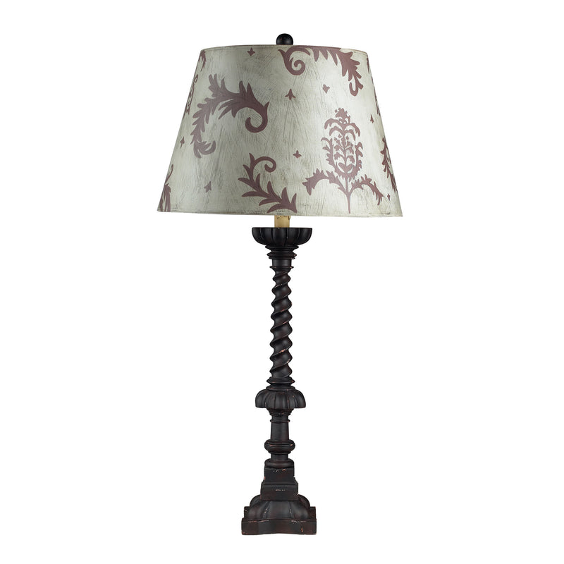 Fronton Table Lamp-Chocolate, Distressed Finish and Hand Painted** - Ballyharry Black
