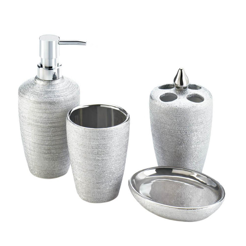 BATH ACCESSORY SET in SILVER SHIMMER