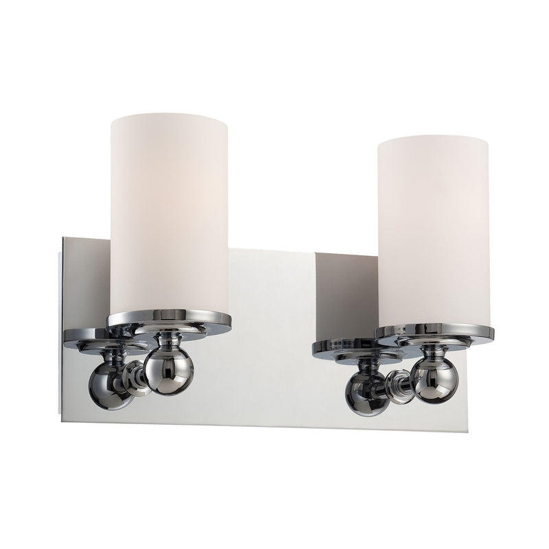 Adam 2 Light Vanity In Chrome And White Opal Glass - Chrome