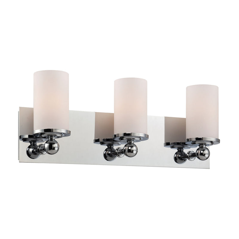 Adam 3 Light Vanity In Chrome And White Opal Glass - Chrome