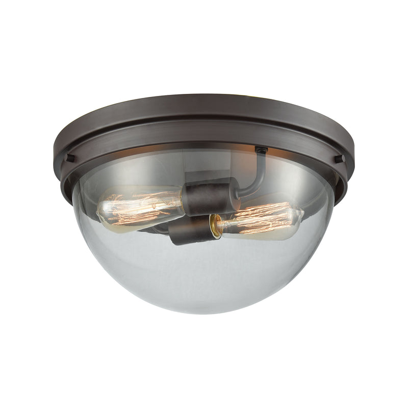 Beckett 2 Light Flush Mount In Oil Rubbed Bronze With Clear Glass - Oil Rubbed Bronze