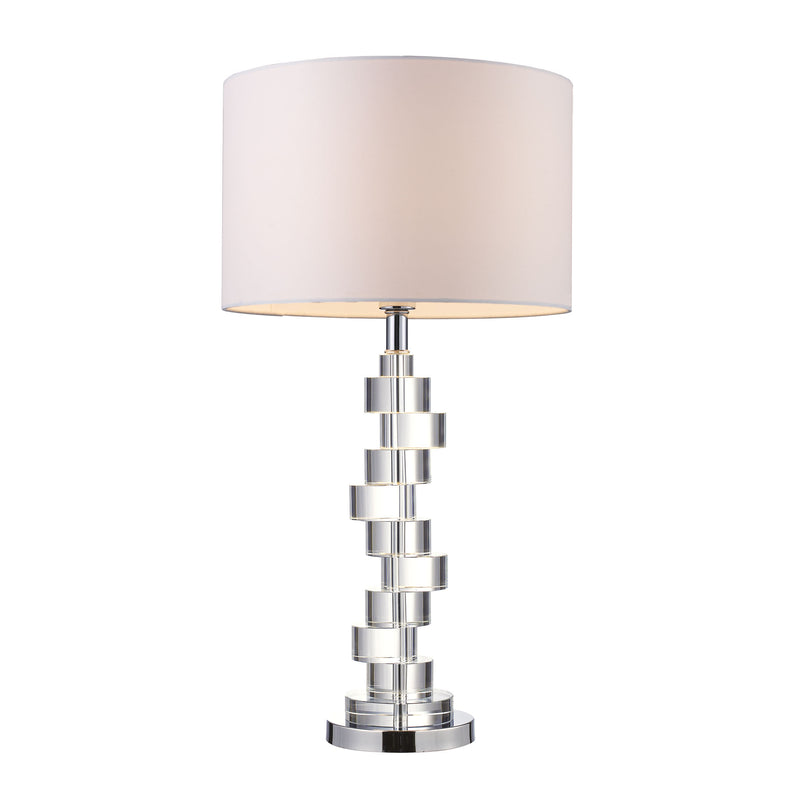 Armagh Table Lamp In Clear Crystal And Chrome With Pure White Faux Silk Shade - Chrome