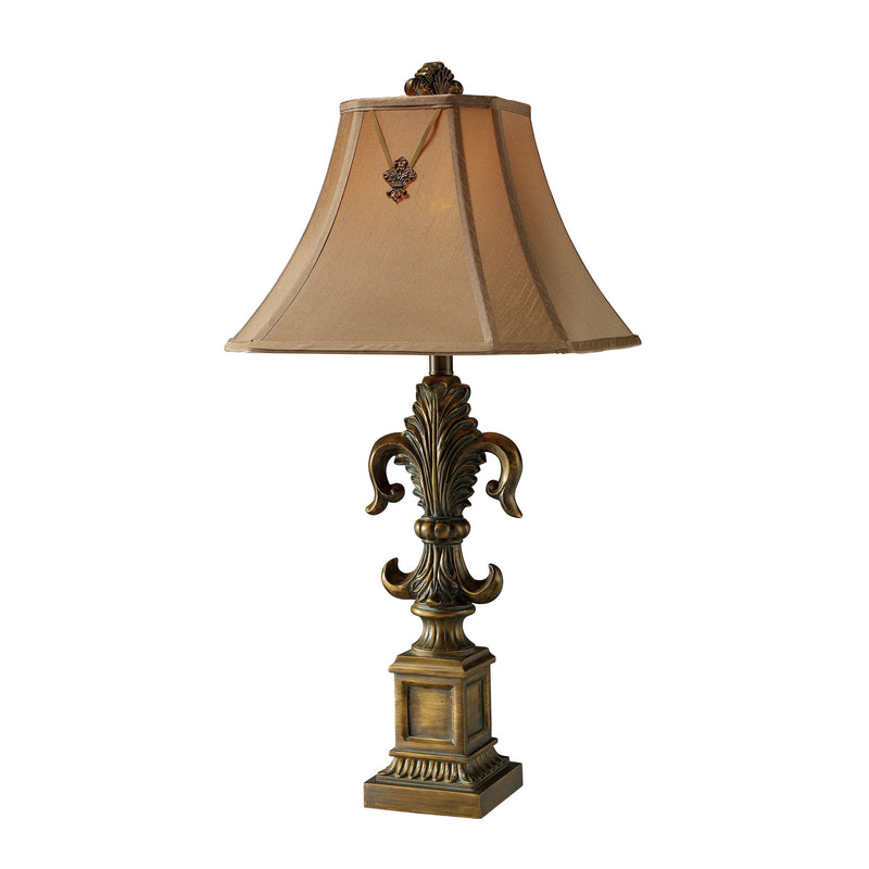 BAINBRIDGE FLEUR-DE-LIS BRONZE TABLE LAMP WITH FABRIC SHADE - Mccoubrey Bronze