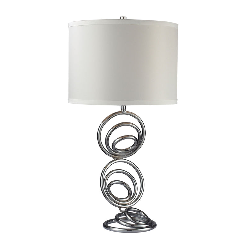 TABLE LAMP IN CHROME WITH AN OFF WHITE FAUX SILk SHADE - Chrome
