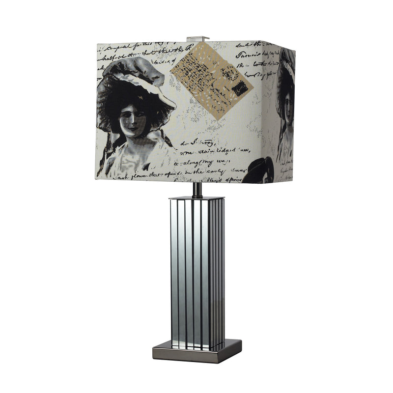 TABLE LAMP, MODERNED MIRRORED  WITH NATURAL LINEN PRINTED LAMP SHADE. - Black Nickel