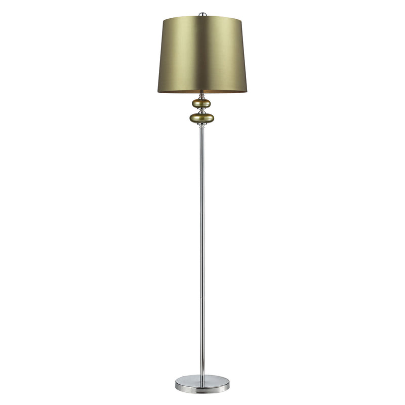 DAYTON FLOOR LAMP, SIGMA GREEN AND POL NICkEL, GREN FAUX SILk SHADE, GREEN LINER - Sigma Green . Polished Nickle
