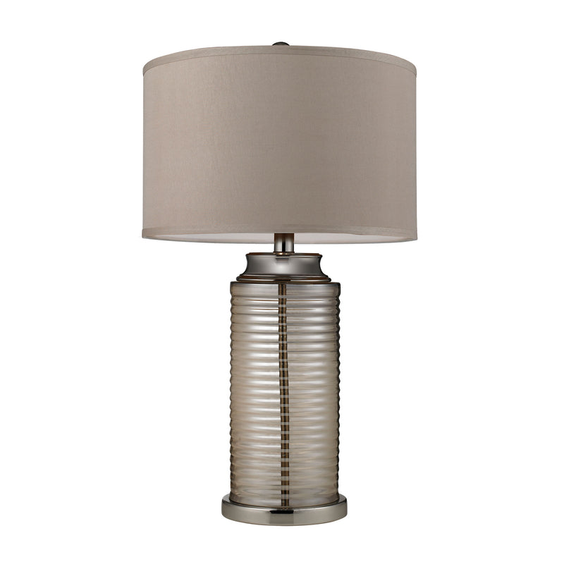 AMBER PLATED RIBBED GLASS TABLE LAMP WITH POLISHED NICkLE ACCENTS - Polished Nickel