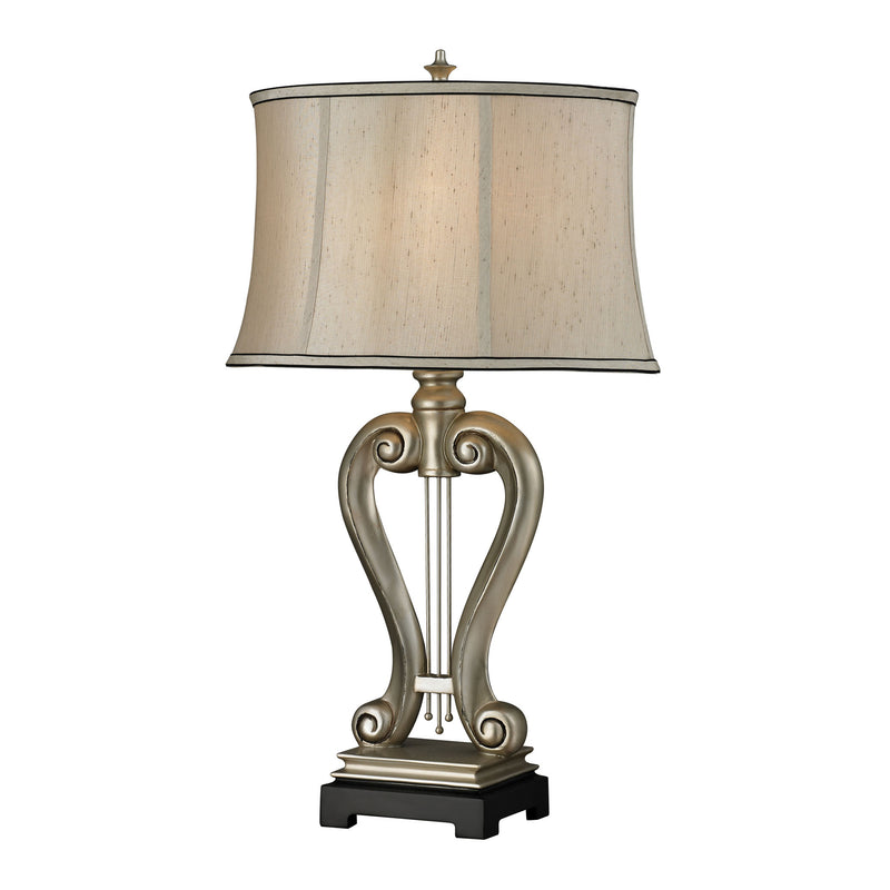 SILVER HARP TABLE LAMP - Silver Leaf