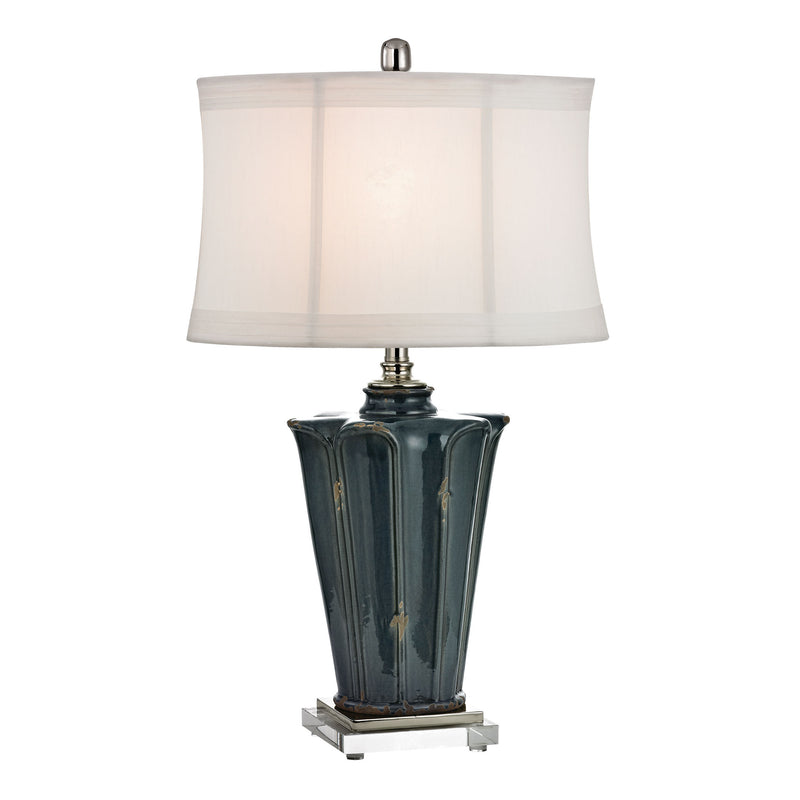 DISTRESSED BLUE GLAZE CERAMIC TABLE LAMP WITH CRYSTAL BASE AND POLISHED NICkEL ACCENTS - BASSETERRE BLUE