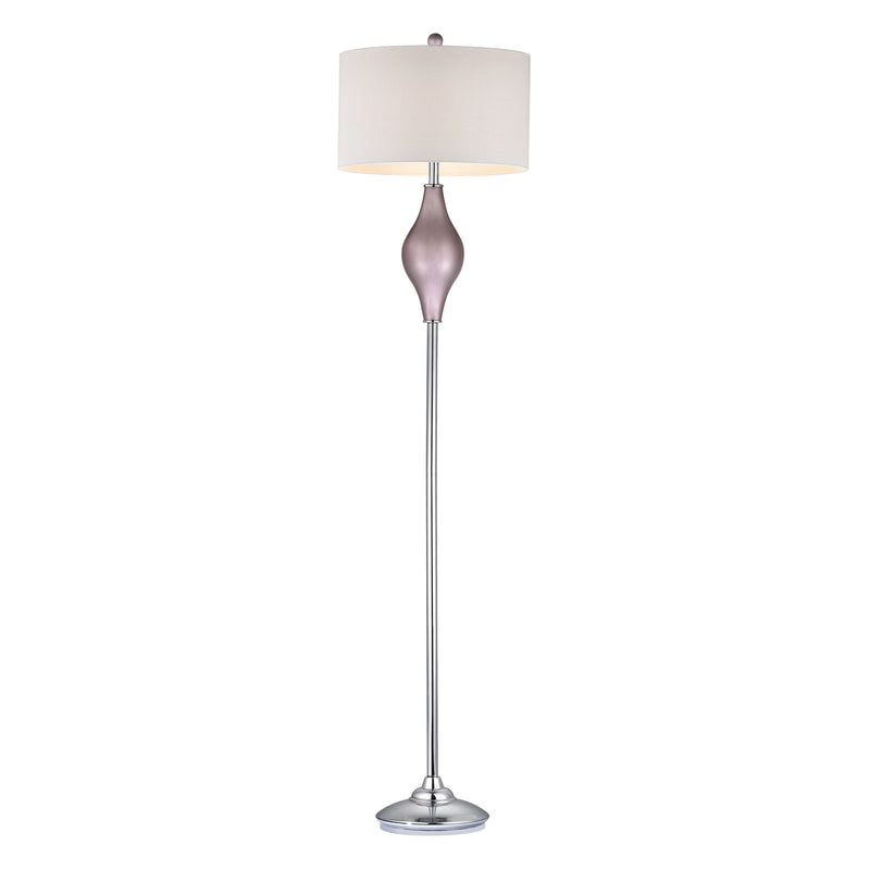LILAC GLASS FLOOR LAMP WITH WHITE SHADE - LILAC LUSTER WITH POLISHED NICkEL
