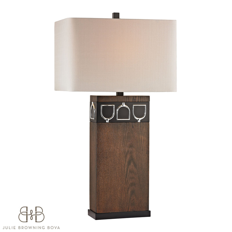VENNER TABLE LAMP - ANTIQUE PINE, OB, CHROME