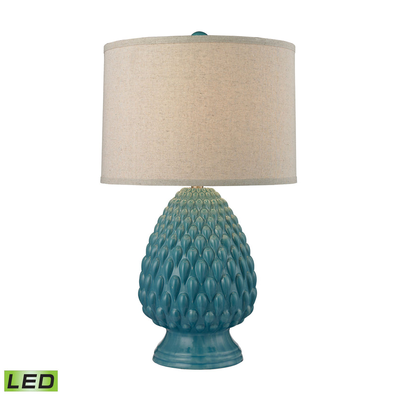 Acorn Ceramic LED Table Lamp in Deep Seafoam Glazed Ceramic - Seafoam
