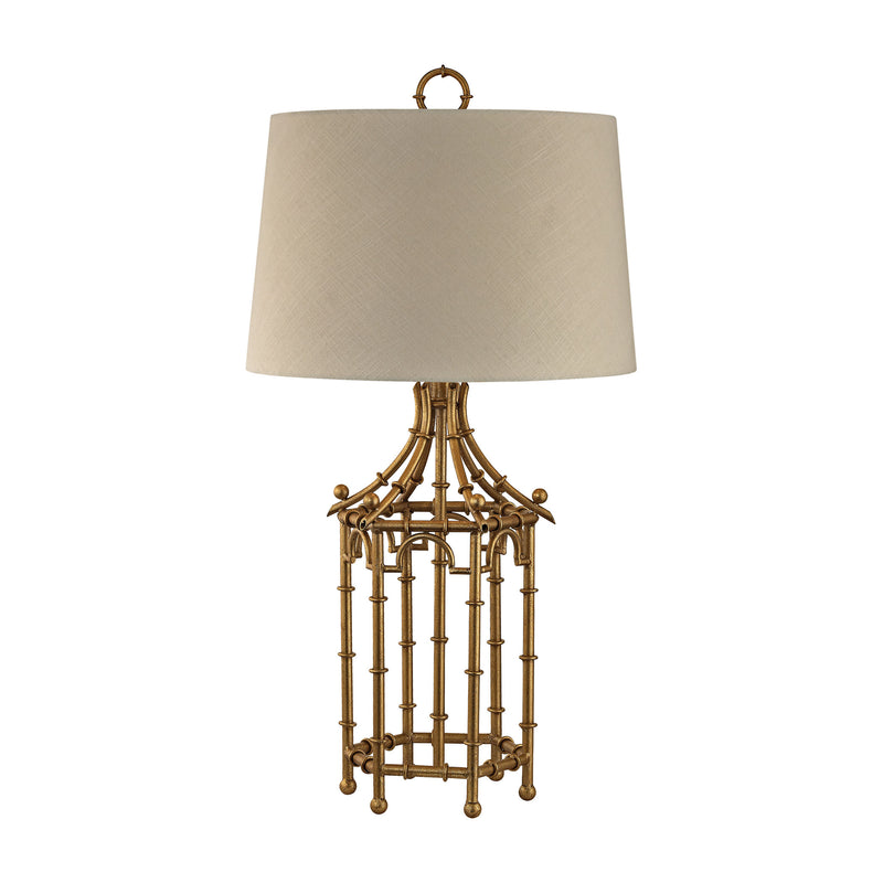 Bamboo Birdcage Table Lamp - Gold Leaf