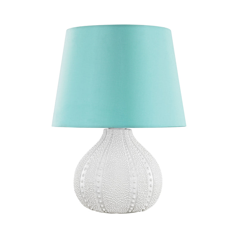 Aruba Outdoor Table Lamp With Sea Green Shade - White