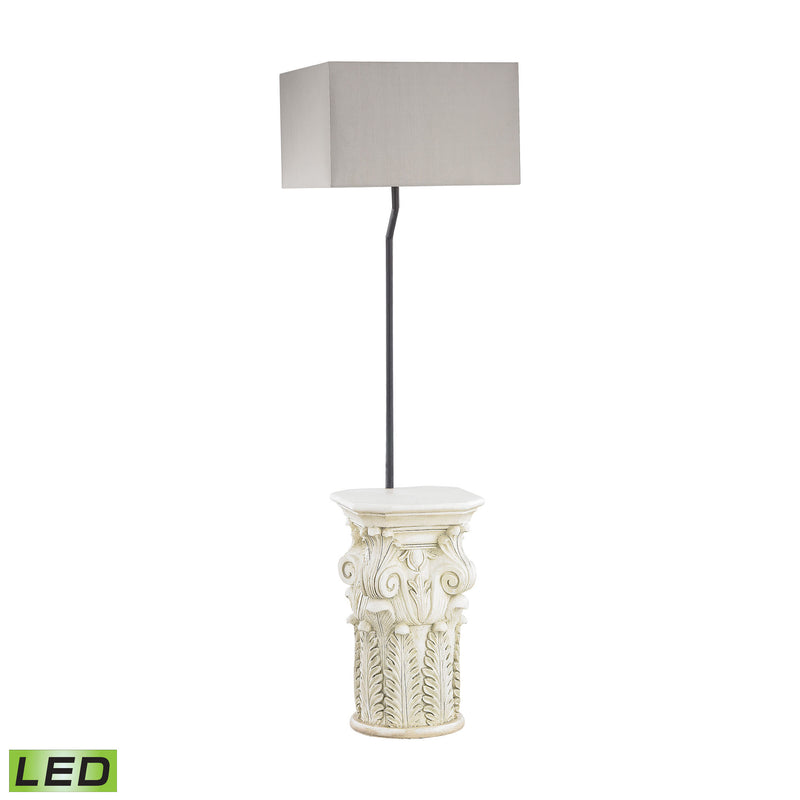 Patras Outdoor LED Floor Lamp With Taupe Shade - Antique White