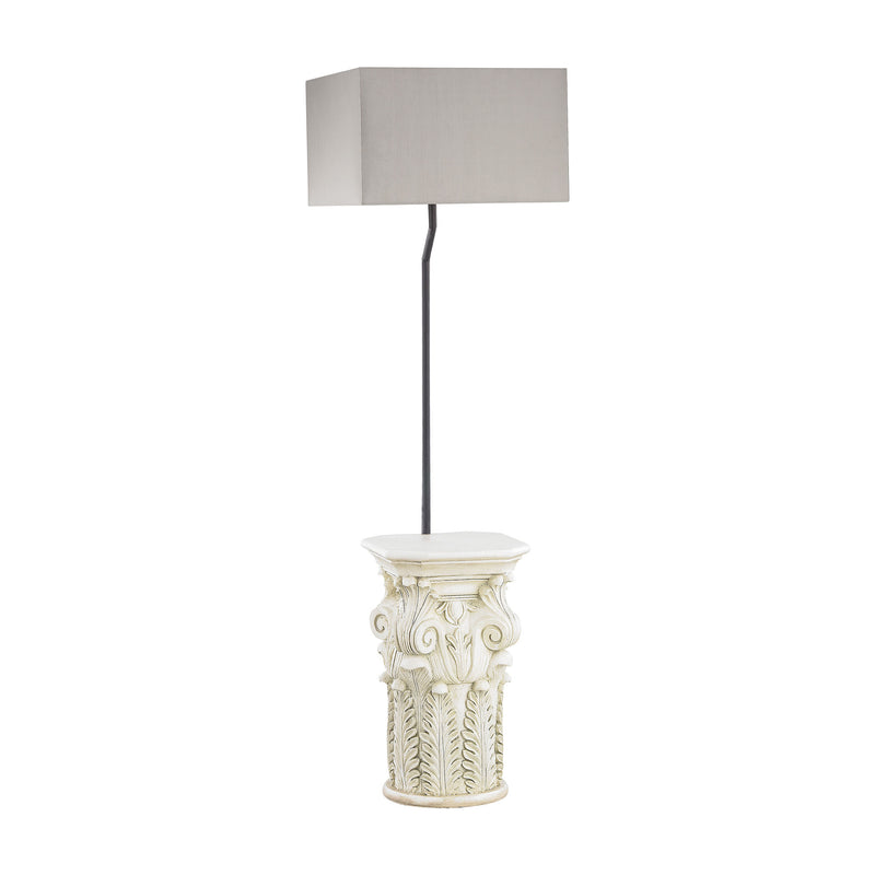 Patras Outdoor Floor Lamp With Taupe Shade - Antique White