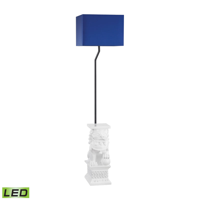 Wei Shi Outdoor LED Floor Lamp With Navy Blue Shade - Gloss White