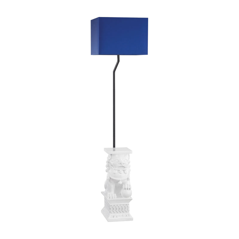Wei Shi Outdoor Floor Lamp With Navy Blue Shade - Gloss White
