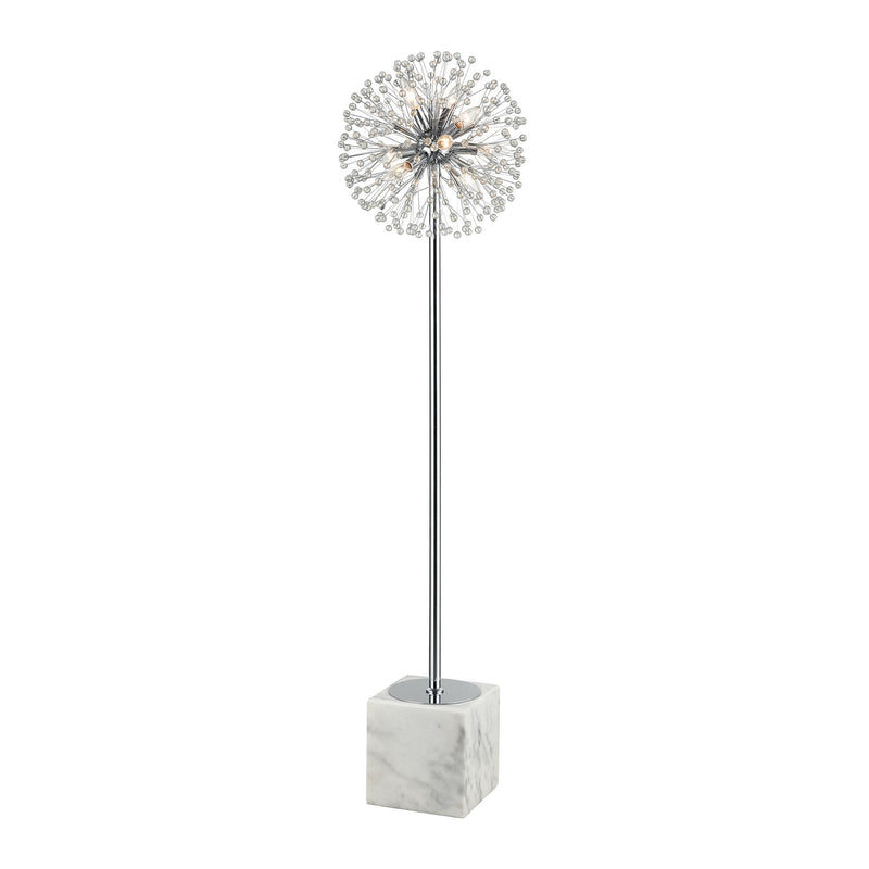 Gone With the Wind Table Lamp - CHROME AND WHITE MARBLE
