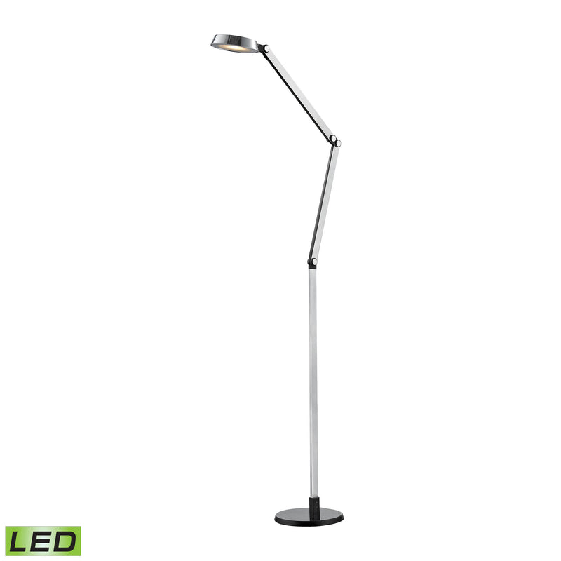 Disc LED Floor Lamp In Black And Chrome - Black