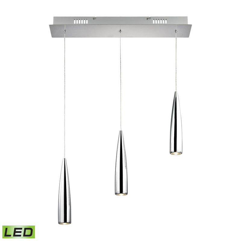 Century 3 Light LED Pendant In Chrome - Chome