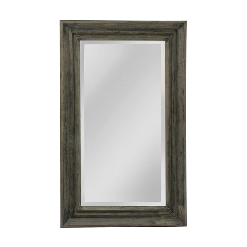 Angular Stepped Wooden Casual, Coastal Or Soft Contemporary Look - Beveled Mirror